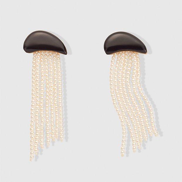 Pendientes de flecos de perlas