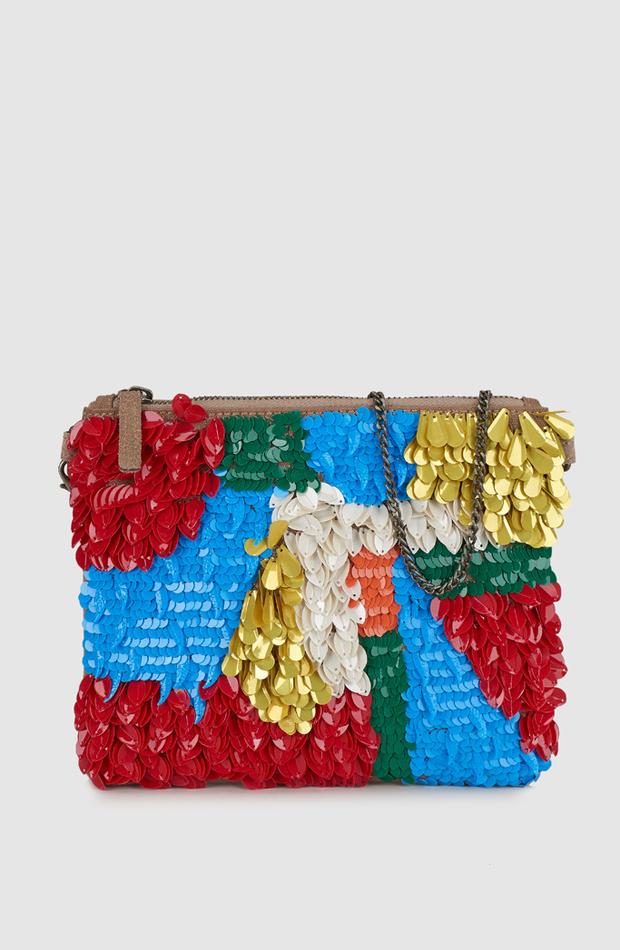 Cartera de mano de ante con abalorios multicolor de Pepe Jeans: look de invitada de rebajas