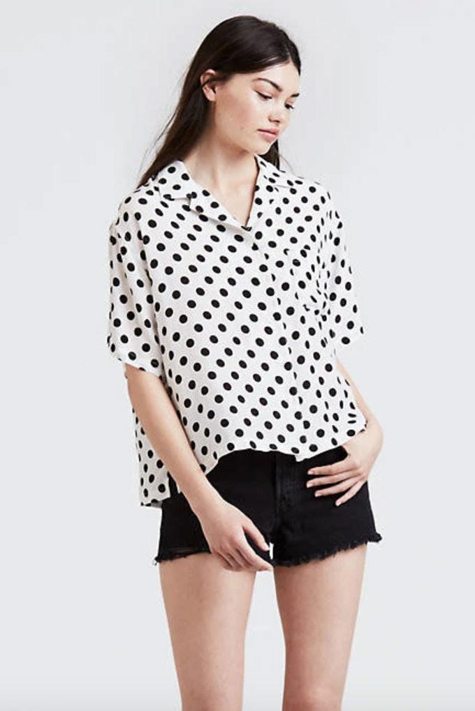 Camisa de estampado de lunares