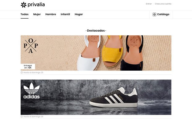 Webs de venta flash: Privalia