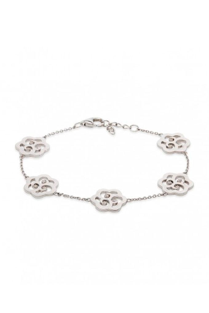 pulsera de flores plata