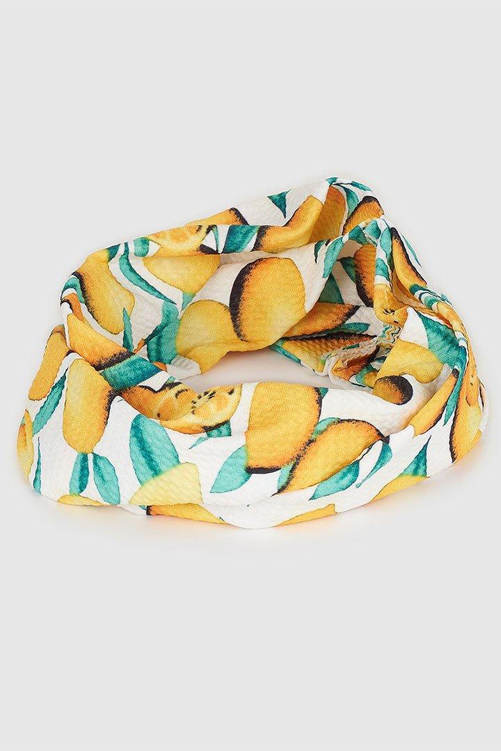 Turbante estampado de limones de las rebajas de verano de El Corte Inglés