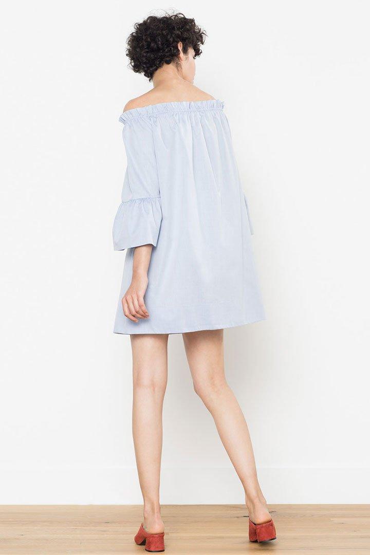 Rebajas en Uterque: vestido azul de popelin