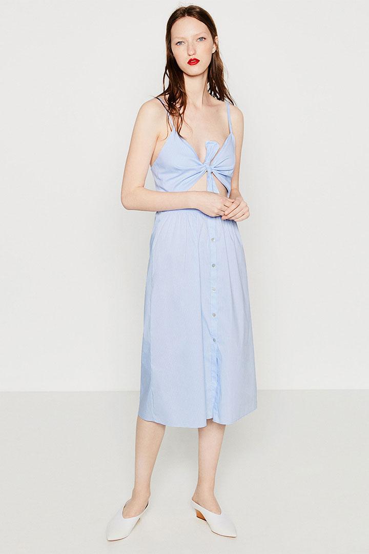 vestido de rebajas en Zara de popelín con lazo bajo el pecho