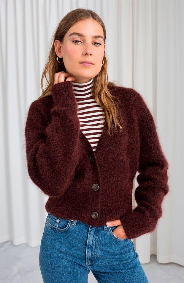 Cárdigan de lana en color marrón chocolate
