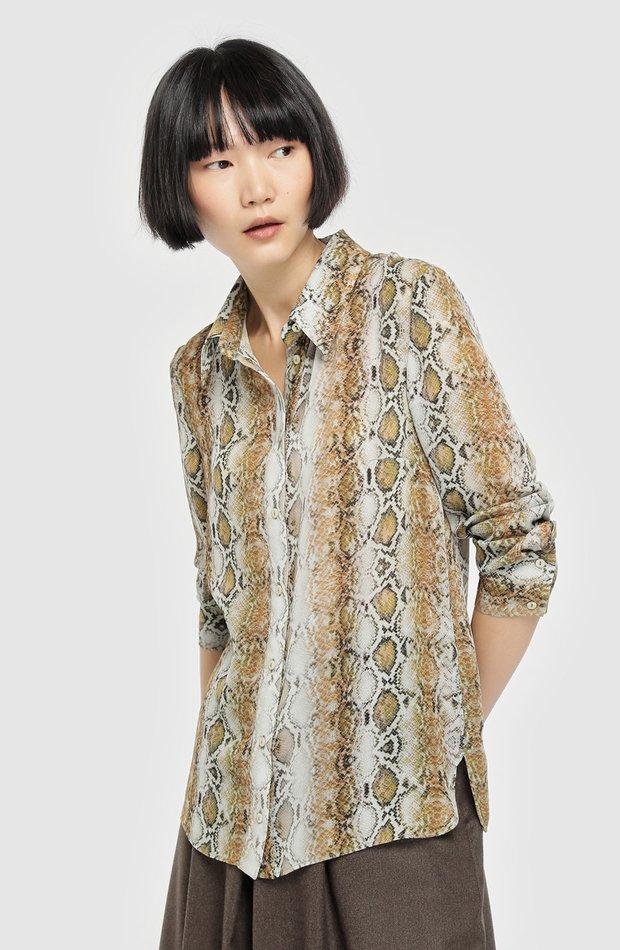 Blusa con manga larga y estampado animal de Roberto Verino: blusas día y noche