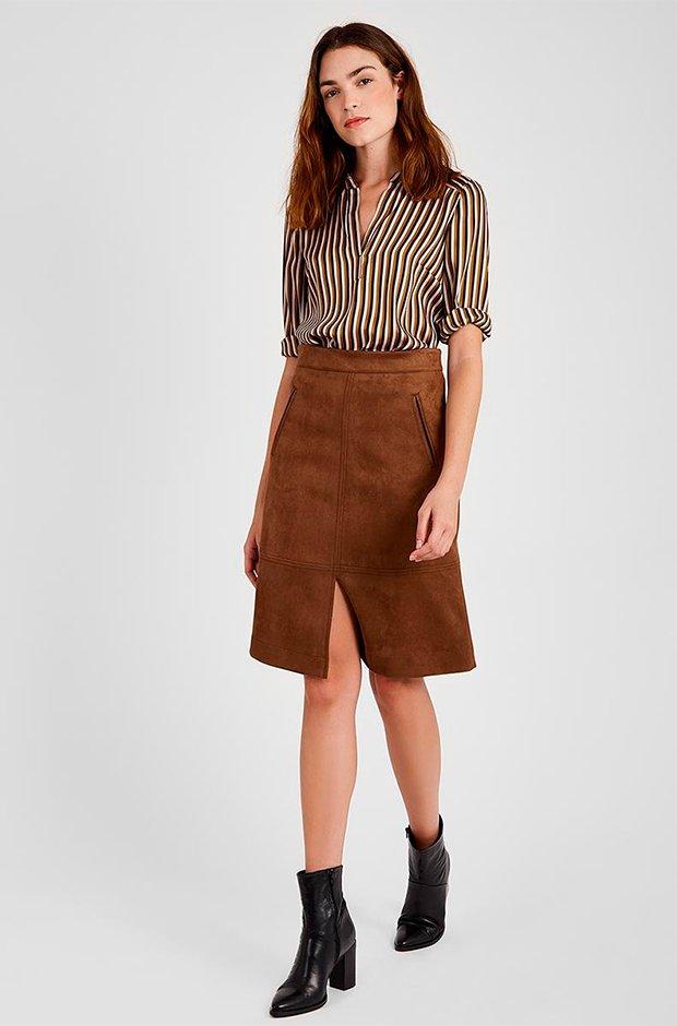 Falda midi marrón de El Corte Inglés