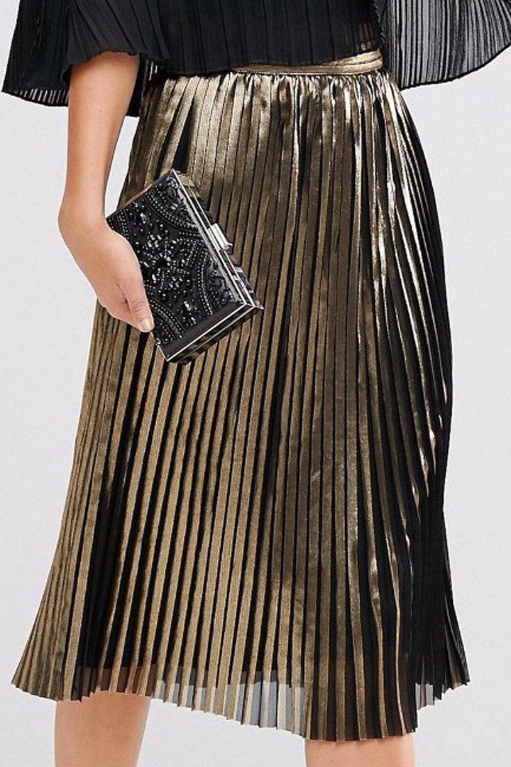 ropa metalizada falda midi