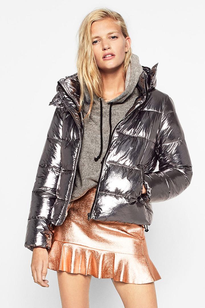 ropa metalizada abrigo