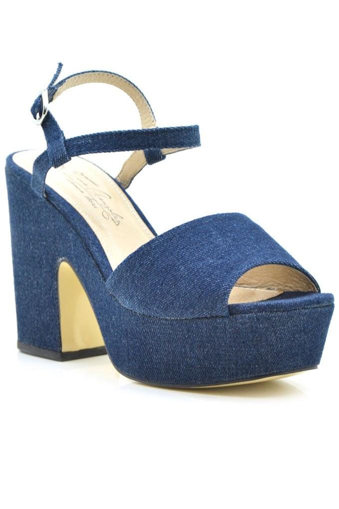 Sandalias con tacón cómodas efecto denim