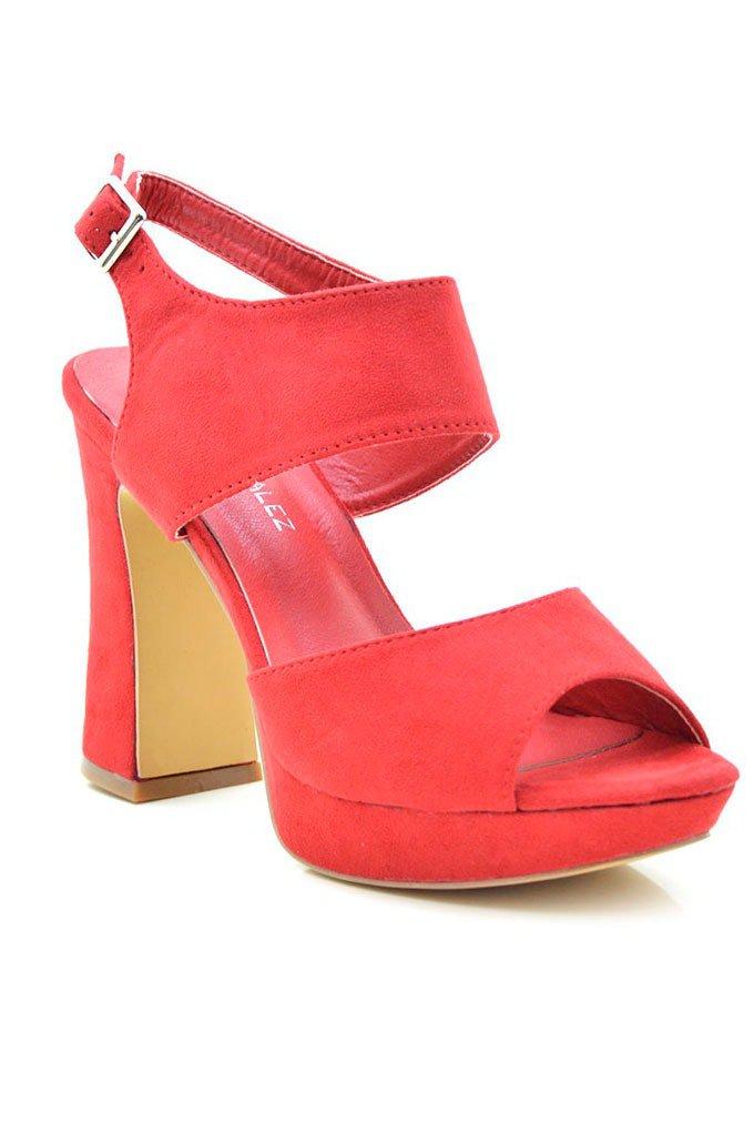 Sandalias con tacón cómodas en rojo