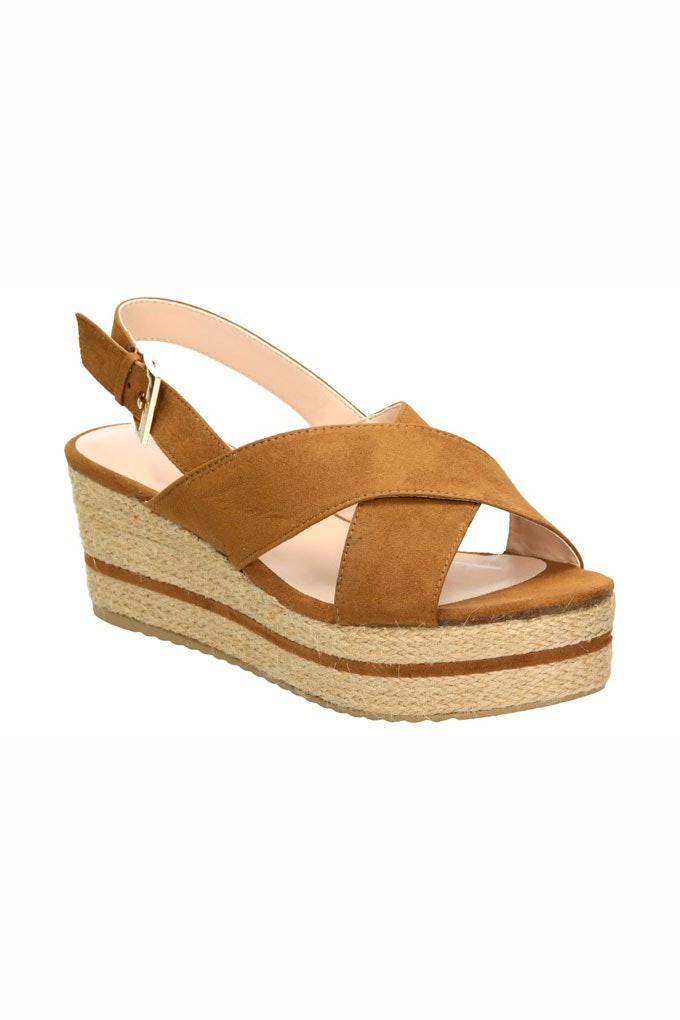 Sandalias con tacón cómodas de tiras marrones