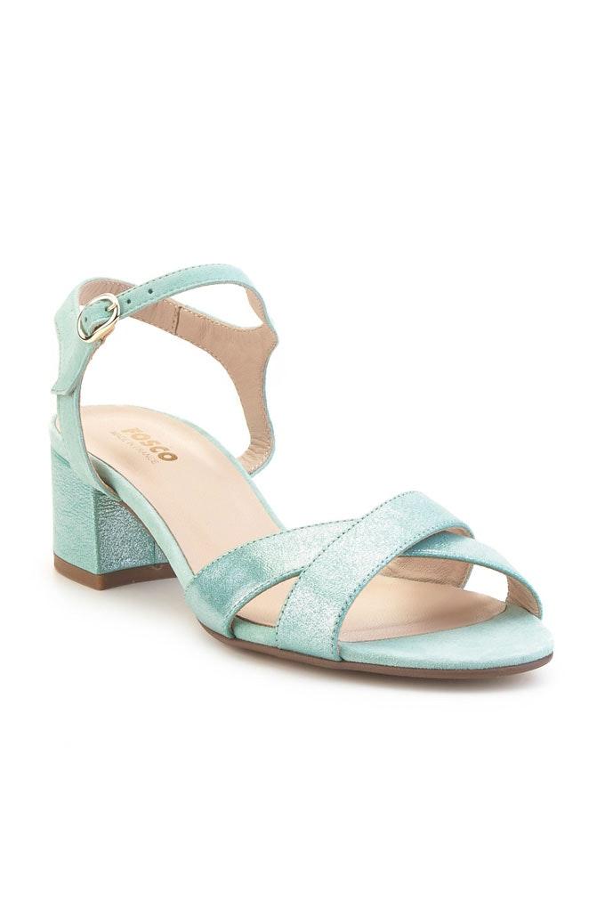 Sandalias con tacón cómodas efecto metalizado