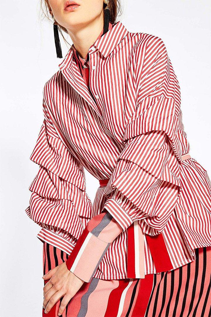 Camisa de rayas con manga abullonada de Sfera Online