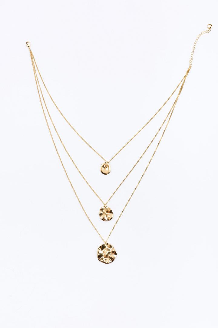 Collar de tres cadenas con pieza metalizada de Sfera Online