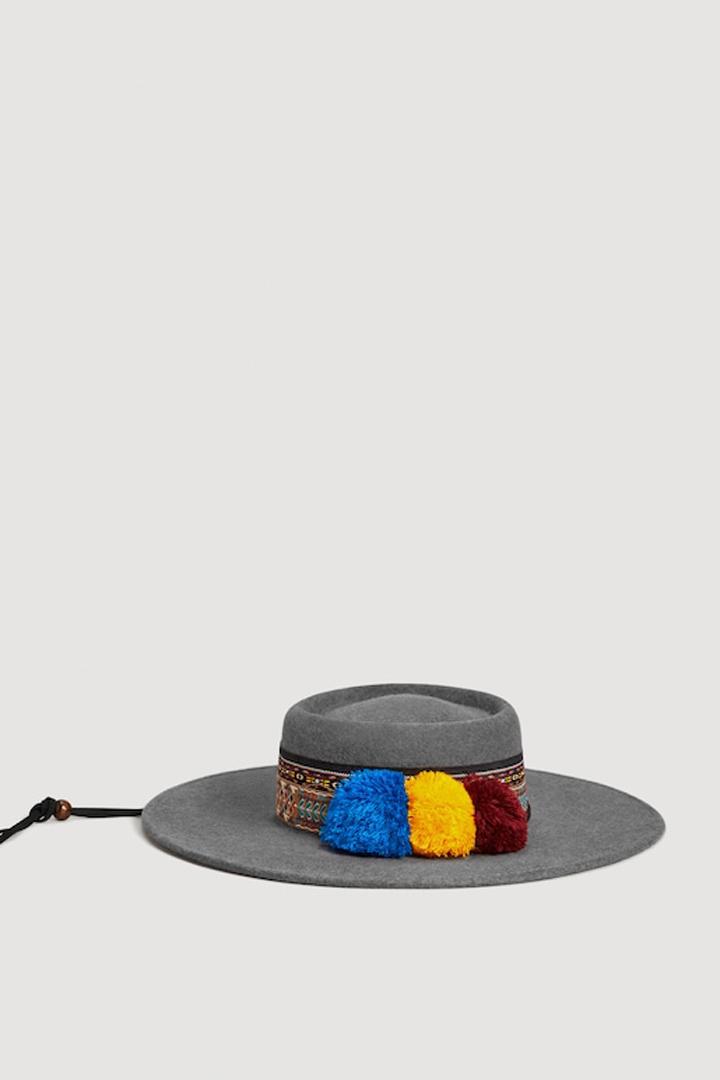 sombrero fedora cinta contraste mango ropa