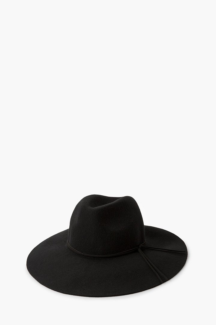 Sombrero de lana negro mango