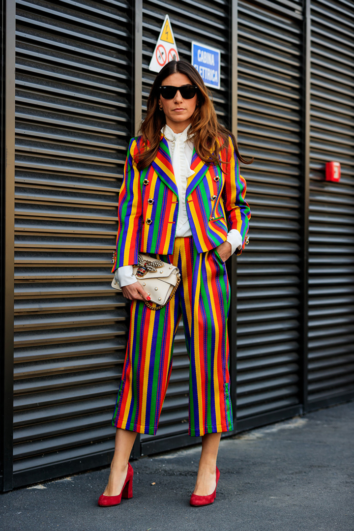 street style MFW 2017 traje rayas colores