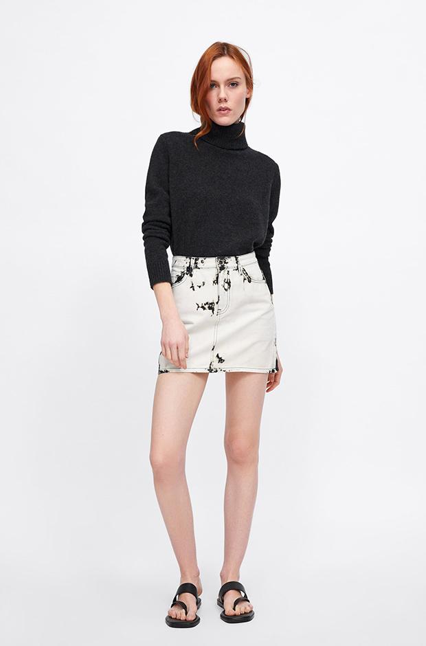 Minifalda efecto tie-dye de Zara