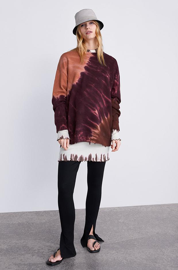 Sudadera tonos cálidos y efecto tie-dye de Zara