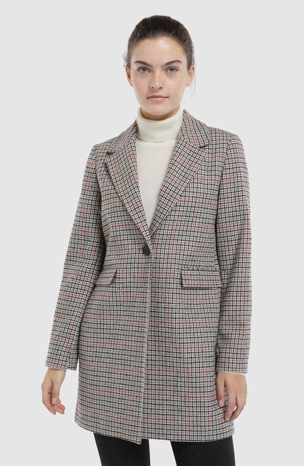 c7a6d8450 Abrigo de cuadros con cierre de botón de Tintoretto  abrigos tendencia