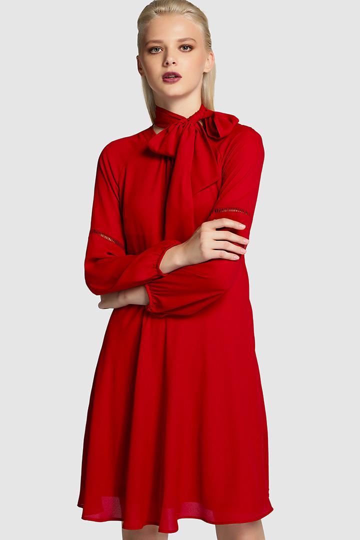 vestido rojo con lazada de tintoretto en el corte inglés