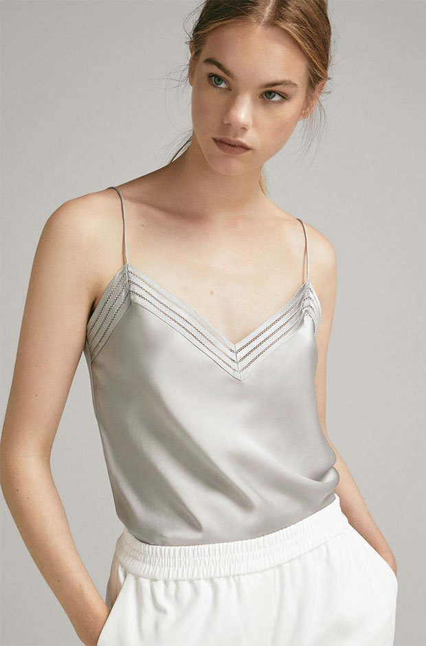 Top lencero en color plata