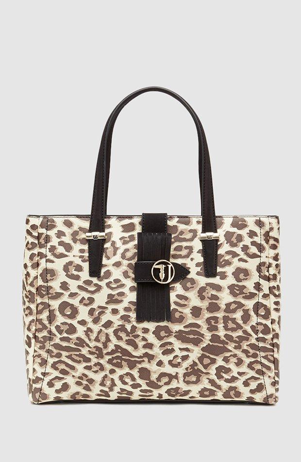Shopping con estampado de leopardo de Trussardi Jeans: bolsos temporada 2019