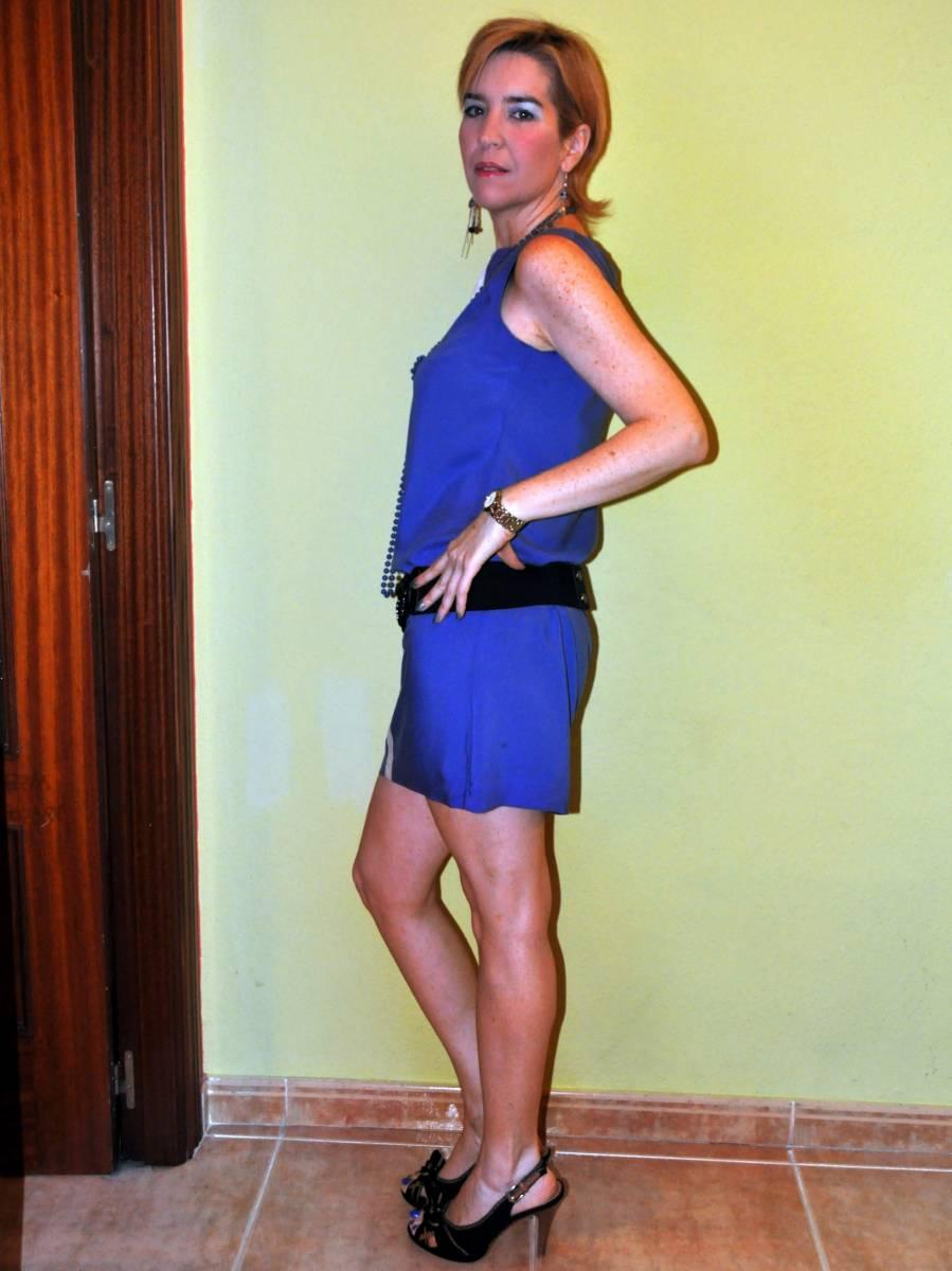 Vestido azul da lomba larga - 5 3