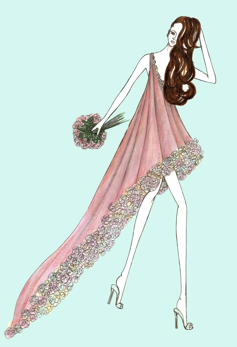 Fashion illustration. Light pink flowers-38278-miticaillustrations