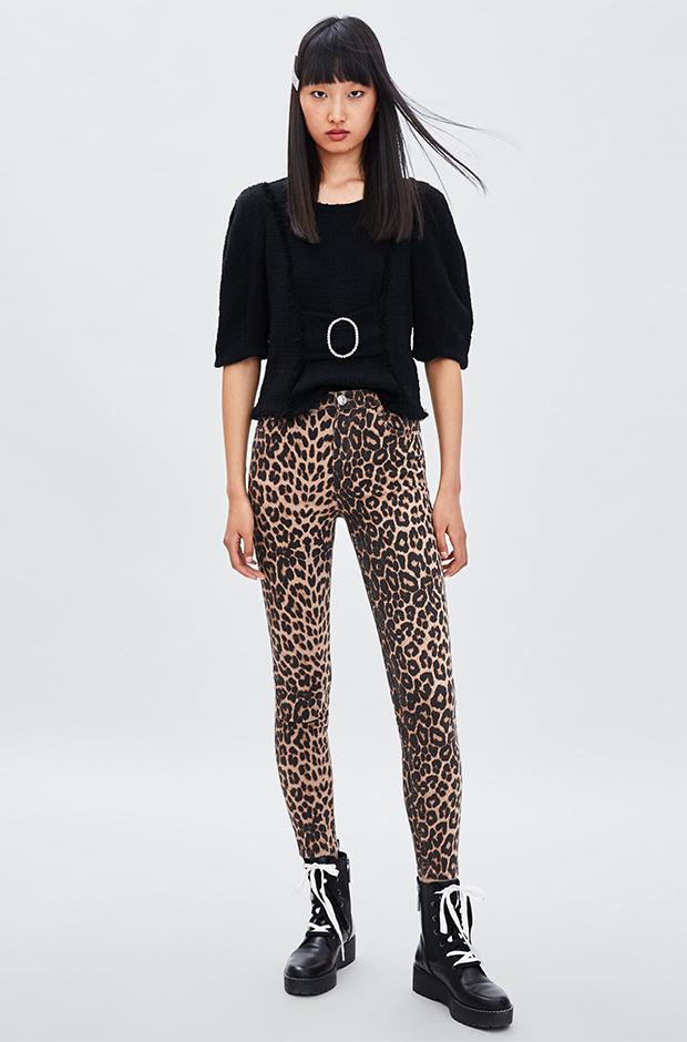 Vaqueros de estampado de leopardo