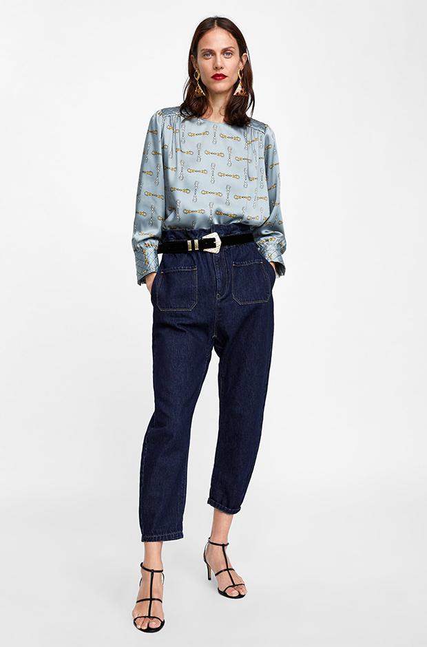 Vaqueros con cintura paper bag de Zara