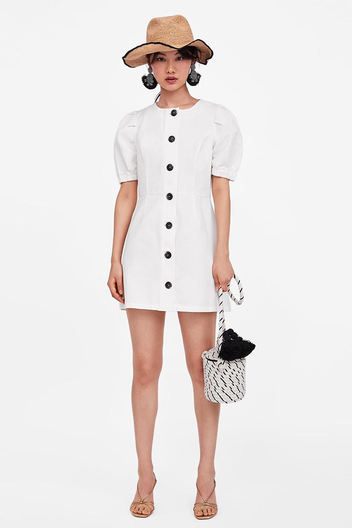 Con De Botones Blanco Zara Vestido wqp5OCTpx