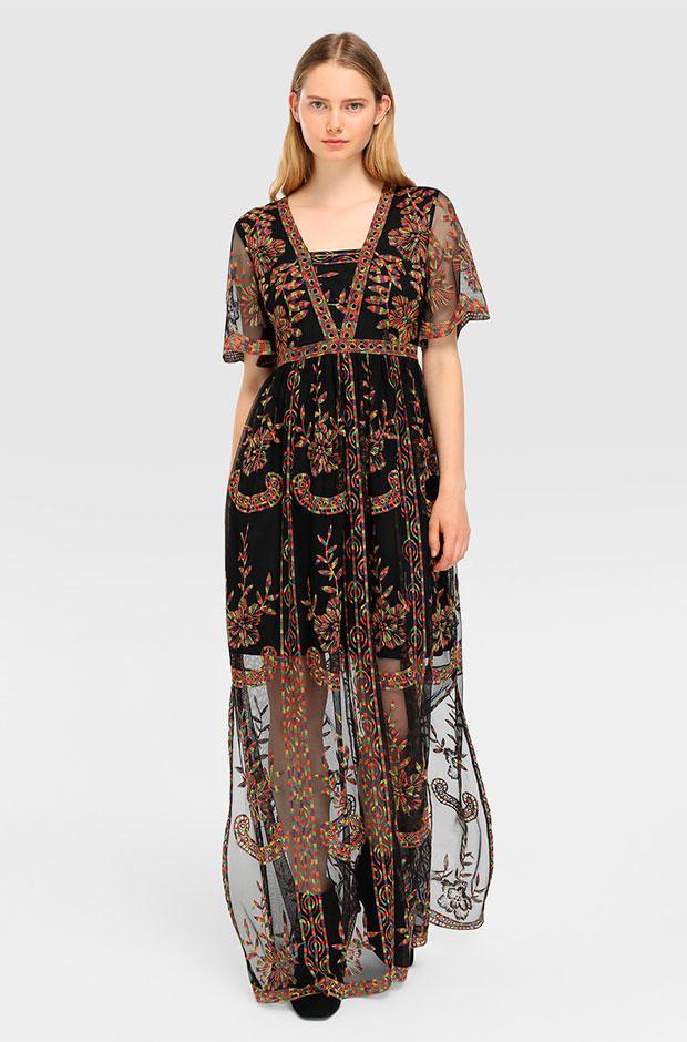 Vestido de Tintoretto de tul negro con bordados