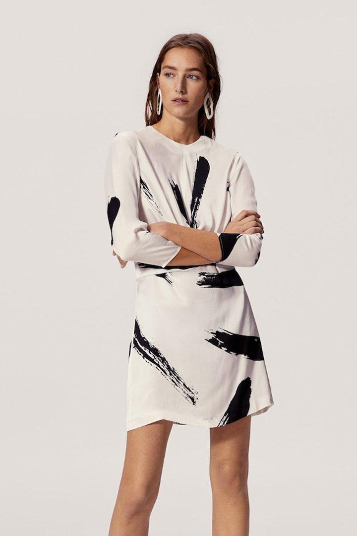 vestido estampado contraste mango ropa