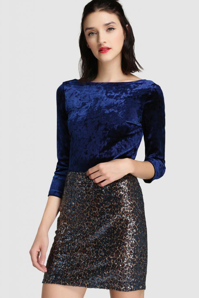 vestido, falda o pantalón para Navidad con El Corte Inglés. Falda brillos