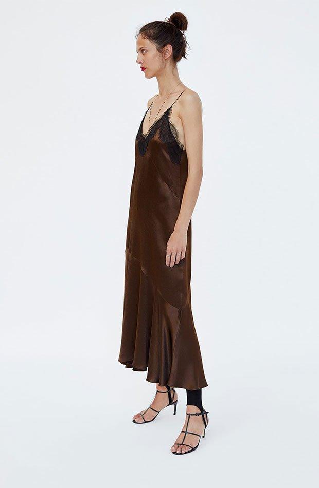 Vestido lencero marrón con encaje negro