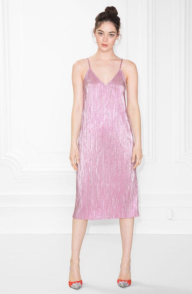 Vestido lencero rosa plisado