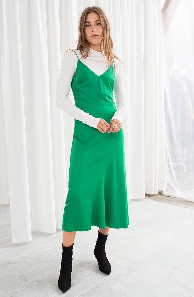 Vestidos lenceros otoño 2018: vestido en verde manzana