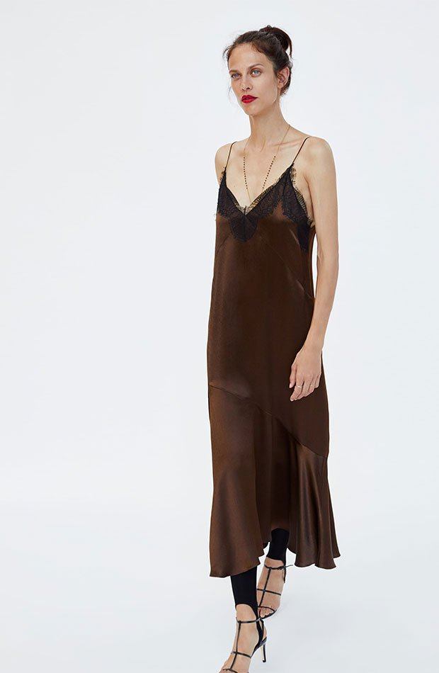 Vestido lencero en color marrón chocolate