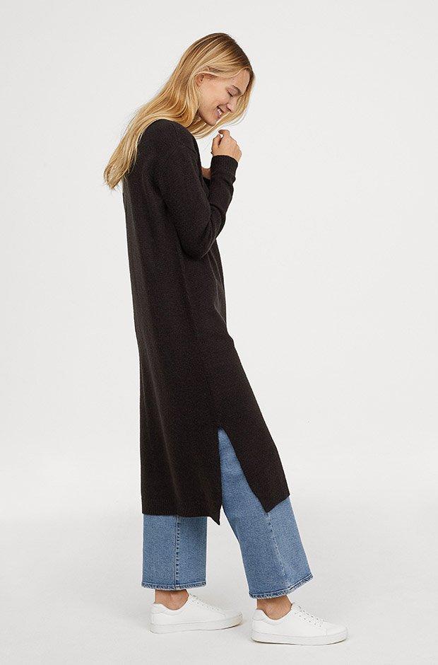 Vestido negro largo de punto