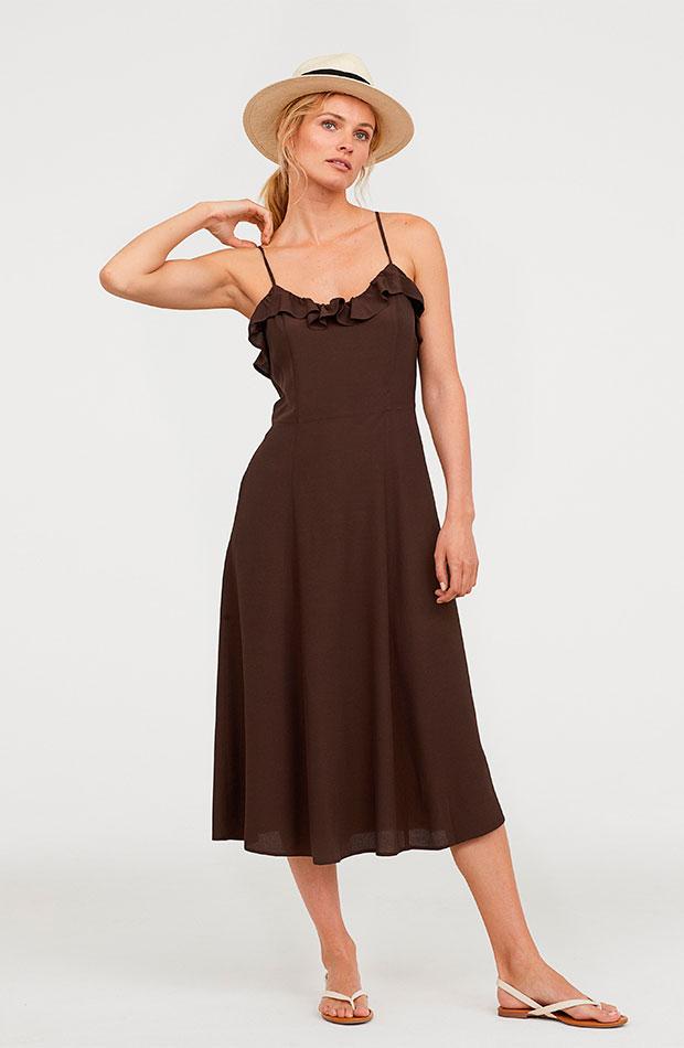 Vestido de tirantes en color marrón chocolate