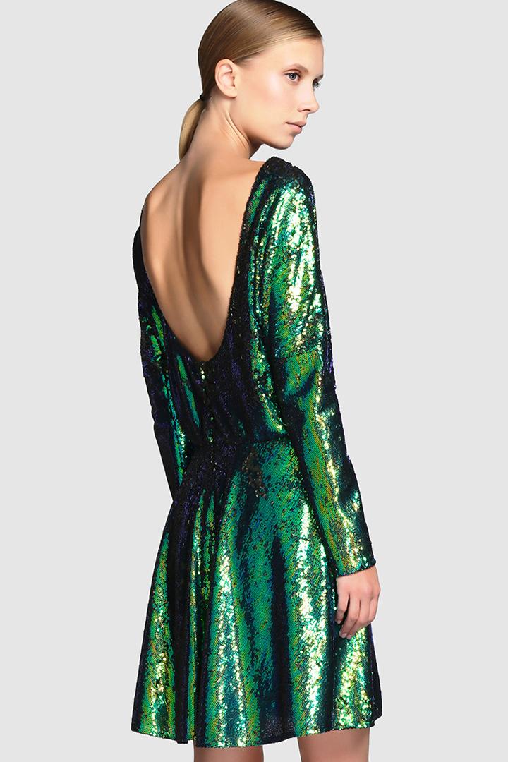 vestido de lentejuelas color verde