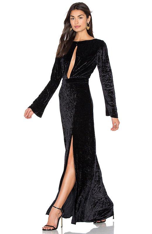 Vestido negro de terciopelo Revolve Clothing