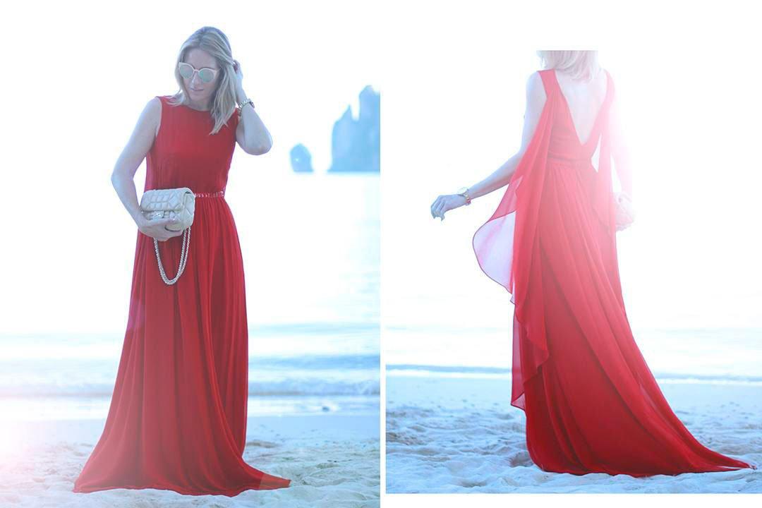 vestido rojo largo de el corte inglés