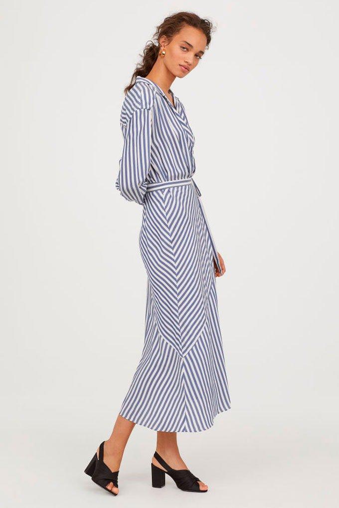 Vestido largo de rayas azules de H&M