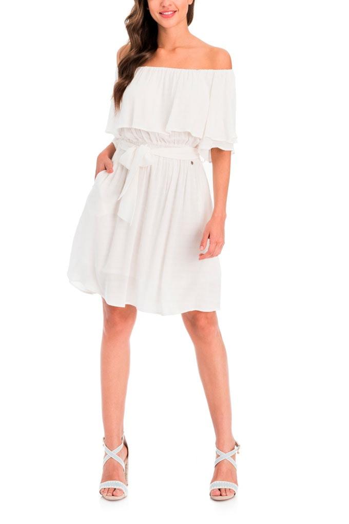 Vestido blanco con volantes de Salsa