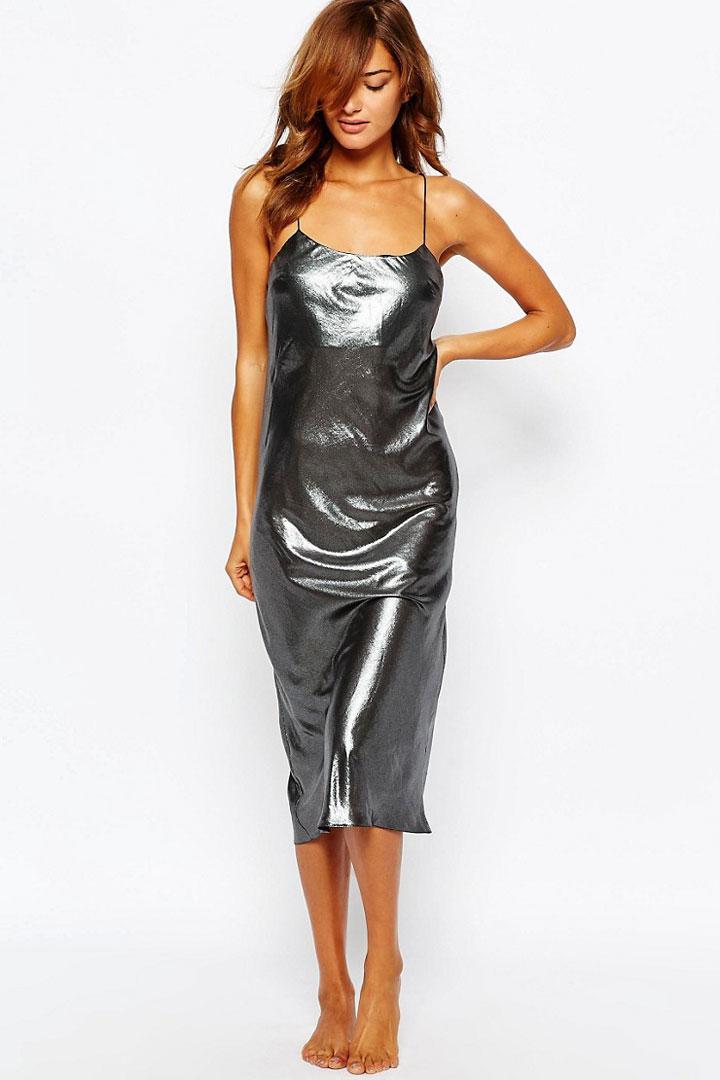 Vestido lencero metalizado