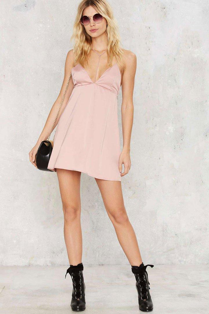 Vestido lencero rosa