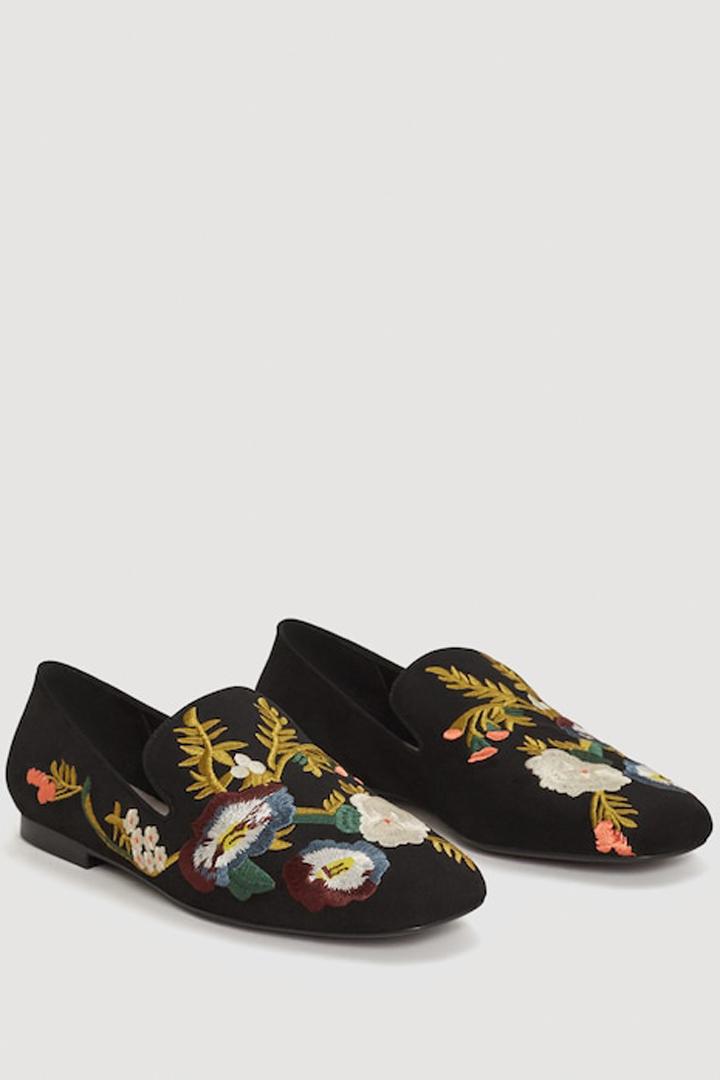 zapato bordado floral mango ropa